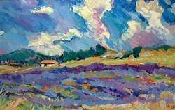 Lavender North of Faurel near Mont Ventoux by Jeffrey Pratt - Original Painting on Board sized 30x20 inches. Available from Whitewall Galleries